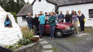 Volunteers at Sunyata 16th August 2014 gathered around Michael's Ferrari